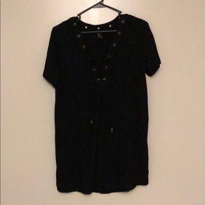 BLACK LACE UP FRONT DRESS